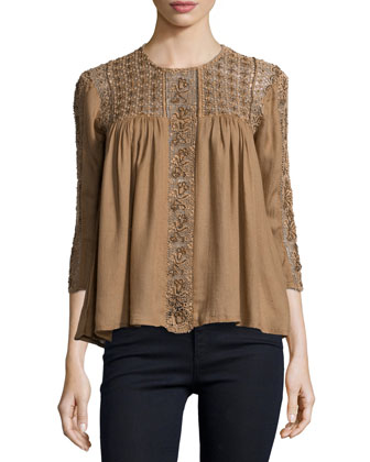 Lilas Embroidered Eyelet Top, Dusty Brick