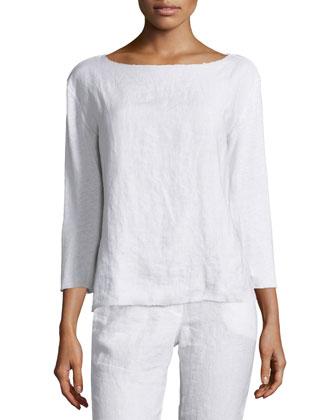 3/4-Sleeve Linen Top