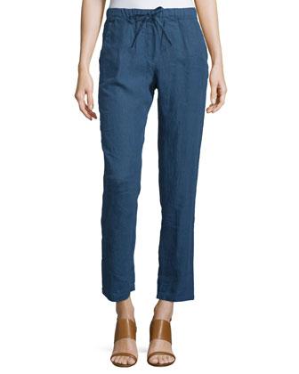 Linen Drawstring-Waist Pants