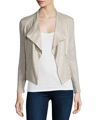 Linen-Silk Drape Cardigan