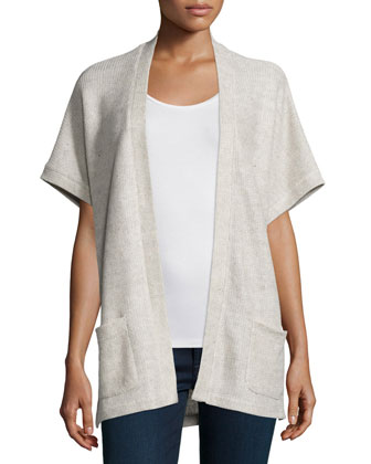Short-Sleeve Linen-Cotton Cardigan
