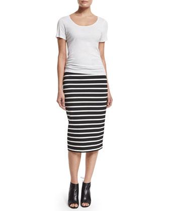 Santorini Striped Pencil Skirt, Black/White