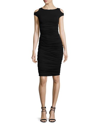 Cyclades Cold-Shoulder Sheath Dress, Black