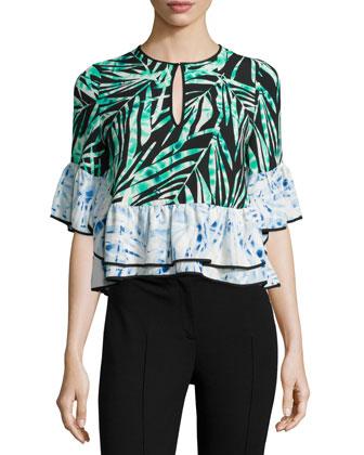 Immane Half-Sleeve Ruffle Top, Black Pattern