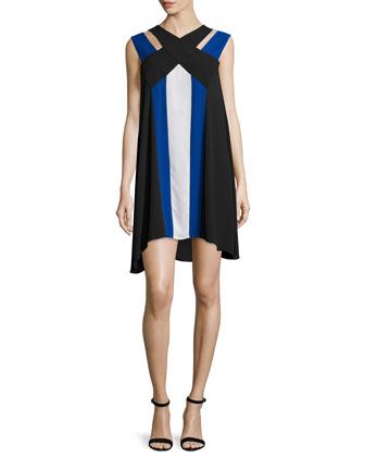 Chantal V-Neck Colorblock Dress, Black/Blue