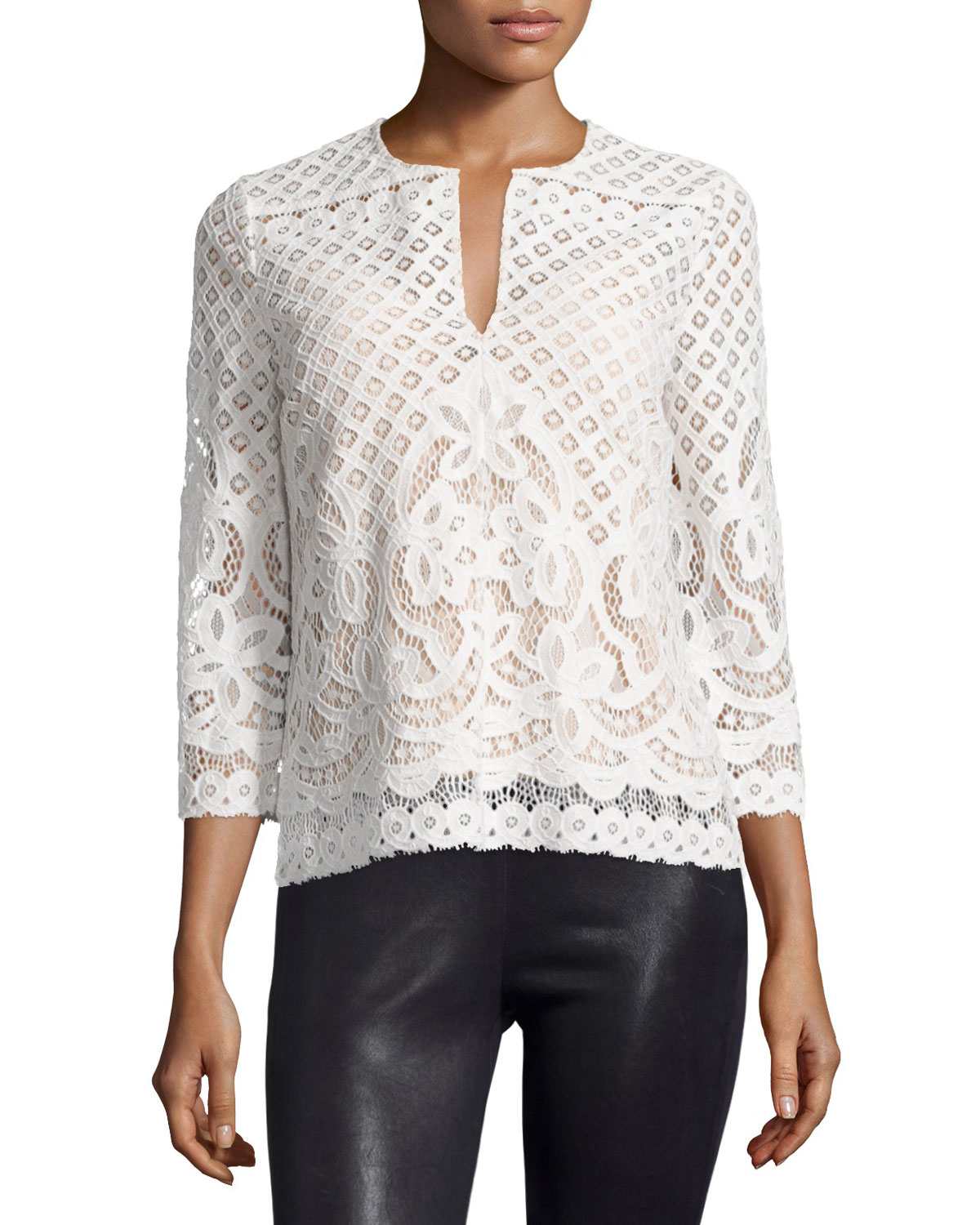 Honora 3/4-Sleeve Lace Top, Ivory, Size: LARGE - BCBGMAXAZRIA