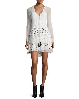 Irma Dot-Print Layered Dress, Ivory/Black