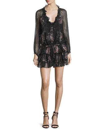 Beatriza Long-Sleeve Layered-Skirt Dress, Black/Multi