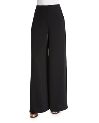 Daniella Wide-Leg Pants W/Slit, Black