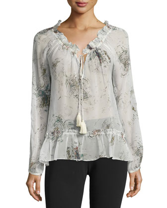 Duma Long-Sleeve Printed Blouse, Ivory/Multi