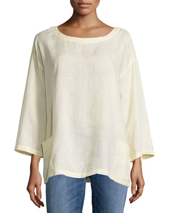 Organic Handkerchief Linen Tunic w/ Pockets, Petite