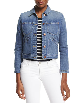 Lacy Boot-Sleeve Denim Jacket, Blue