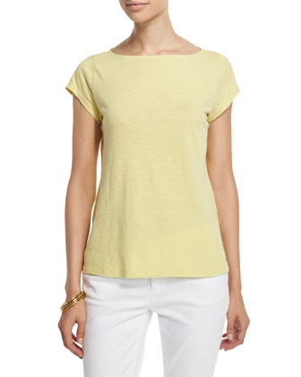Cap-Sleeve Slubby Top