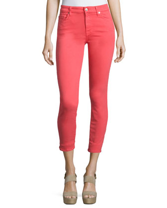 The Mid-Rise Skinny Ankle Jeans, Red