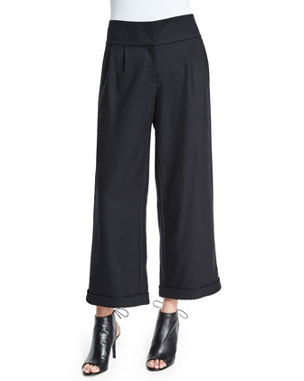 High-Waist Wool Newspaper Boy Pants, Black