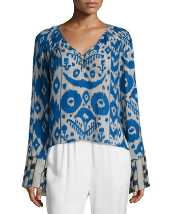 Long-Sleeve Printed Chiffon Henley Top, Blue