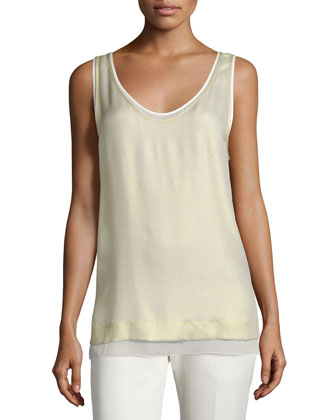 Tassel-Trim Crepe Vest, Cream