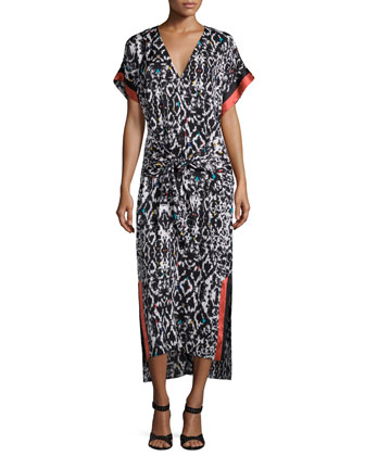 Long Short-Sleeve Printed Tie Dress, Color Blooms