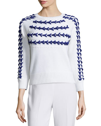 Hand-Knit Yoke Sweater, Cream/Lapis