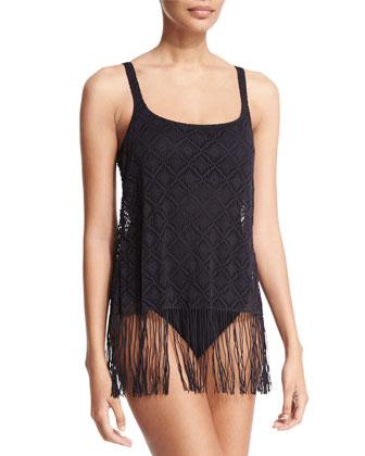 Charleston Scoop-Neck One-Piece Swimsuit W/Fringe, Black