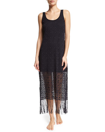 Charleston Crochet Coverup Tank Dress W/Fringe, Black