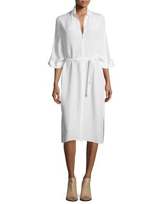 Bryce Silk Shirtdress, Ivory