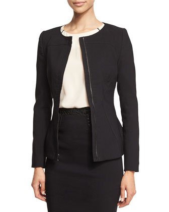 Long-Sleeve Peplum Jacket, Black