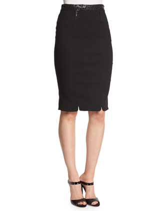Structured Pencil Skirt, Black