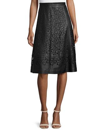 Laser-Cut Leather A-Line Skirt, Black