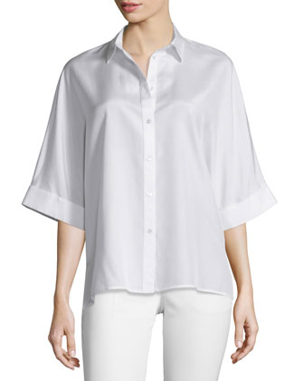 Bryce Silk Button-Front Blouse, Ivory