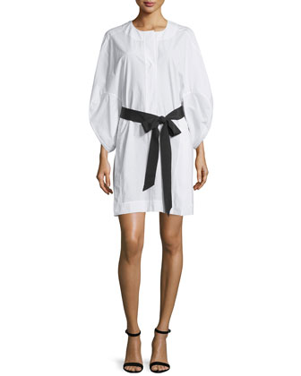 3/4-Sleeve Belted Tunic Dress, White