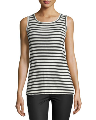 The Muscle Striped Tee, Cream/Black