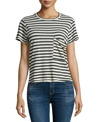 The Long Pocket Striped Tee, Cream/Black