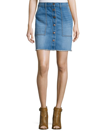 The Naval Denim Skirt, Blue Collar