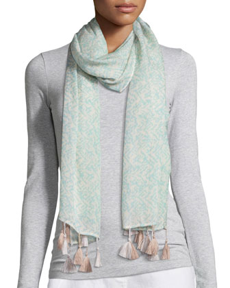 Erased Chevron Silk Cashmere Wrap