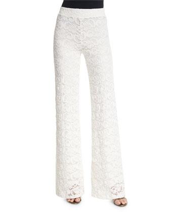 Dixie High-Waist Lace Trousers, Ecru