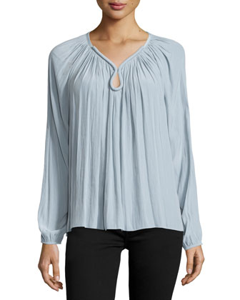 Valentina Long-Sleeve Keyhole Top, Silver