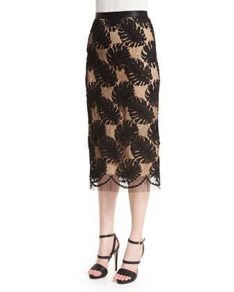 Corded-Lace Midi Skirt, Black
