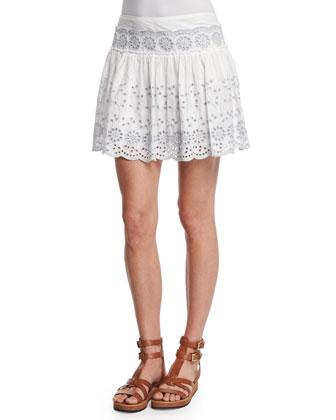 Cotton/Silk Eyelet Mini Skirt, White
