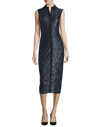 Sleeveless Metallic-Embroidered Shirtdress, Black