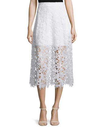 Tori A-Line Lace Midi Skirt, White
