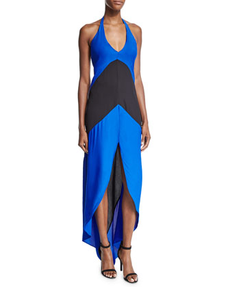 Lulu Sleeveless Colorblock Maxi Dress, Blue