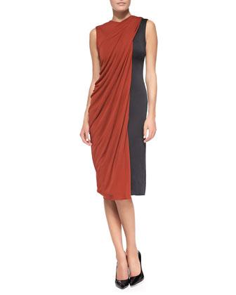 Bicolor Drape-Front Dress