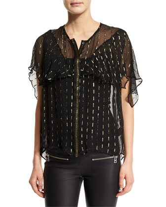 Tonia Metallic-Trim Sheer Chiffon Blouse, Black