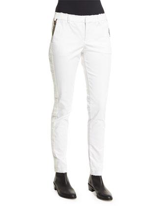 Prune Bis Studded Chino Pants, Blanc