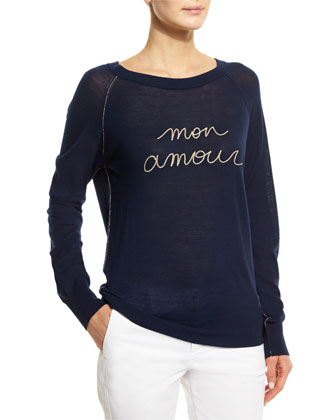 Crisp Mon Amour Pullover Sweater, Encre