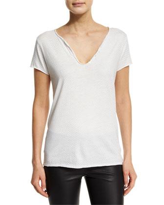 Short-Sleeve Tunisien Studded Jersey Tee, Blanc