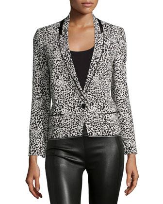 Leopard Jacquard Blazer, White/Black