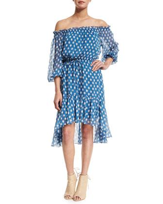 Camila Dotted Batik Off-the-Shoulder Dress, Blue