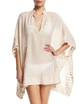 Bay Embroidered Short Caftan Coverup, Bisque